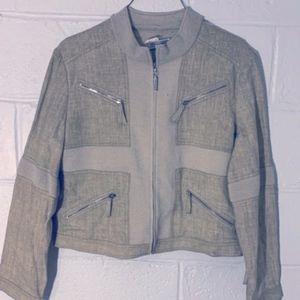 St. John Sport Linen Blazer Zip Up Jacket Coat